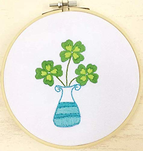 Embroidery Kit for Beginner Flower Design DIY Home Wall Decor Four-Leaf Clover (Leaf Embroidery Design)