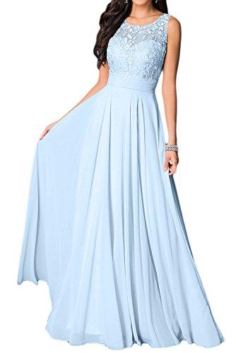 Applikation Missdressy Charmeuse Rundkragen Tanzenkleider Lang Damen Elegant Partykleider Abendkleider Chiffon Hellblau Festkleider Aermellos UOOIxTFqw