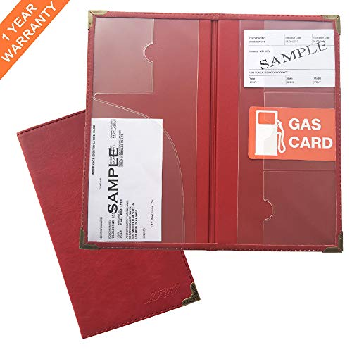 Document Holder for Car DMV Registration,Insurance,Auto Paperwork,Club Card Storage,Premium PU Red Leather Wallet Case for Automobile Truck SUV,Motorcycle Documents Organized in Glove Box and Console