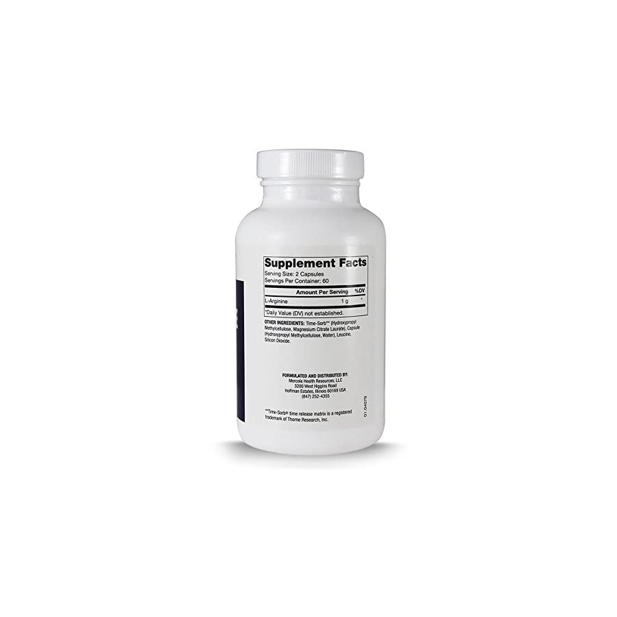 Dr. Mercola L Arginine Time Release Cardiovascular Support 120 Vegetarian Capsules
