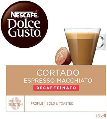 Nescafé Dolce Gusto Café Cortado descafeinado, Pack de 3 x 16 ...
