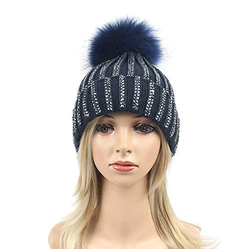 GESDY Women Rhinestone Beanie Skull Hats Warm Knitting Hat Real Raccoon Fur Pompom Bobble Caps