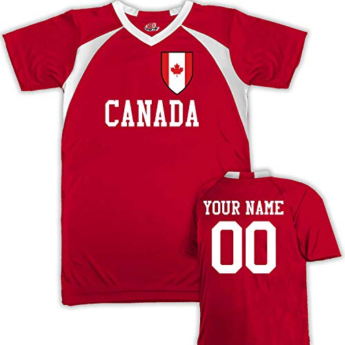 Customized Canada Soccer Jersey Youth Large in Scarlet Red and -