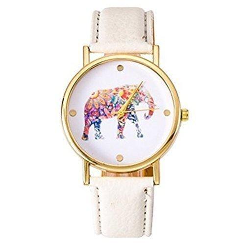 Nueva ginebra reloj de elefante Hippie Mujer Oro Mujer Reloj de pulsera vintage reloj de piel sintética: Amazon.es: Relojes
