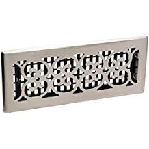 Decor Grates SPH412-NKL 4-Inch by 12-Inch Scroll Floor Register, Brushed Nickel