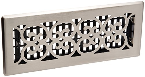 Decor Grates SPH412-NKL 4-Inch by 12-Inch Scroll Floor Register, Brushed - Register Nickel Floor