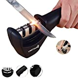 Lightsmax Kitchen Knife Sharpener - 3-Stage Knife Sharpening Tool Helps Repair, Restore and Polish Blades
