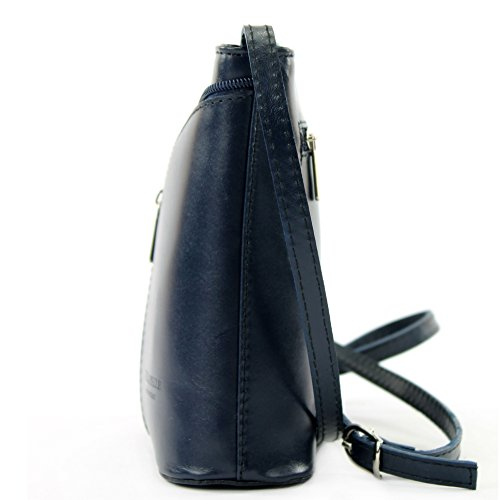 ModaModa de–Italiana. Piel Mujer Bolso de mano bolsa de hombro Girl Kleine Bandolera D19 azul oscuro