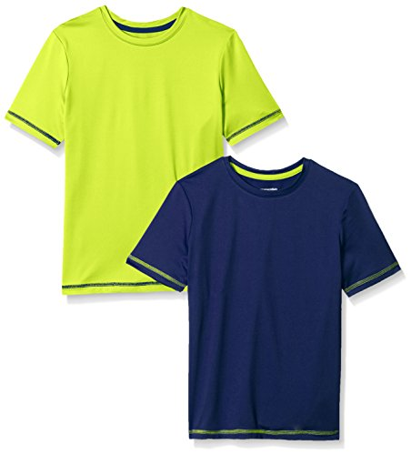 b5fa153f Amazon Essentials Toddler Boys' 2-Pack Short-Sleeve Basic Active Tee, Blue