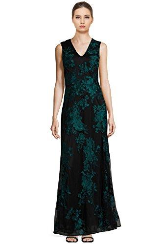 David Meister Floral Embroidered V-Neck Evening Gown Dress Black