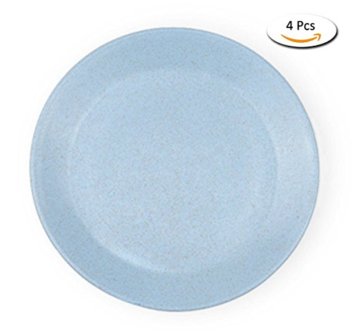 Linshing-Wheat Straw Material Round Dinner Plate Snack Dessert Fruit Dish 4 Pcs (Wheat Round Serving Plate)