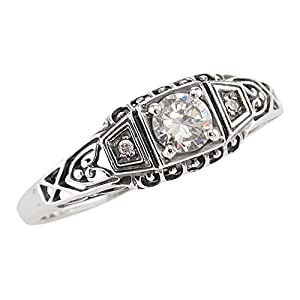 Jansjewells Art Deco Style Sterling Silver Filigree .25ct Cubic Zirconia & Diamond Ring