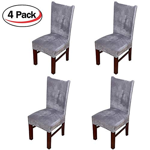 Smiry Velvet Stretch Dining Room Chair Covers Soft Removable Dining Chair Slipcovers Set of 4, Silver Grey