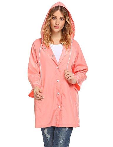 Rain Wind Jacket (Lantusi Women Lightweight Waterproof Windbreaker Long Hooded Rain Jacket Coat)