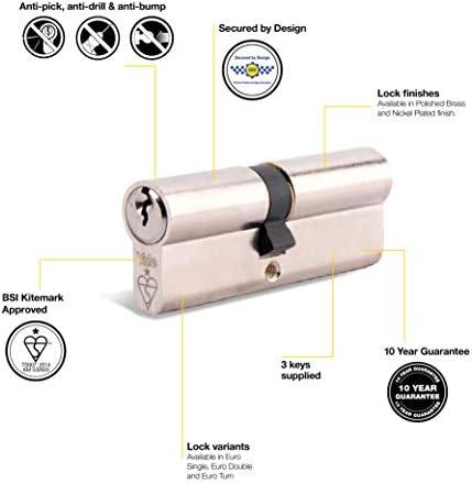 YALE Keyed Alike Euro Cylinder Lock UPVC Aluminium Door Barrel Pair 35//10//45