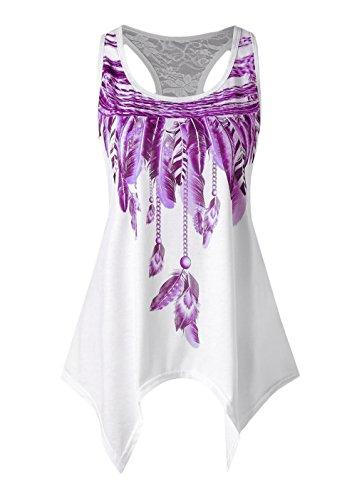 Con Estivi Asimmetrica Camicie Fashion Stampato Tunica Eleganti Rotondo Purple Canotta Unico Damigella Casuali Irregular Donna Shirts Camicetta Collo Magliette Smanicato wI5qxg