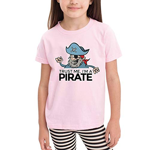 Trust Me I Am A Pirate General T-Shirt for Kids,Short Sleeve,Boys/Girls,Cotton Fabric Pink