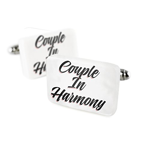 Cufflinks Vintage Lettering Couple In Harmony Porcelain Ceramic NEONBLOND by NEONBLOND