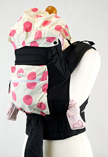 Mei Tai Hip Carrier (Pink Spots Spots Floral Mei Tai Baby Sling Carrier With Hood and Pocket)