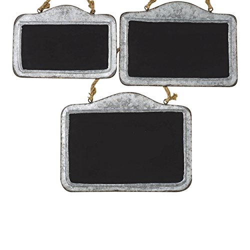 Whole House Worlds The Farmers Market Crested Deer Chalkboards, Set of 3, Galvanized Weathered Metal Frame, Knotted Twine Hanger, 12,13, and 15 4/5 Long Inches, By by Whole House Worlds