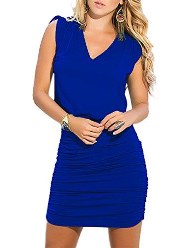 Yiwa Sexy Pli Robe Moulante Col V Couleur Unie Bleu Mince Robe