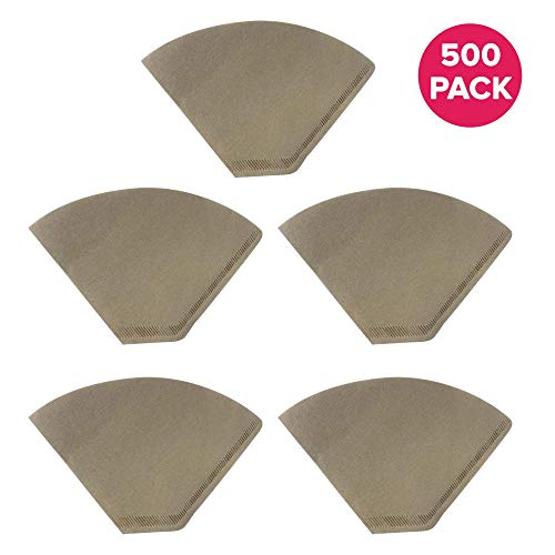 Think Crucial Replacement #4 Coffee Filters for Unbleached Natural Brown Paper, Disposable Cone Filters, Fits All Coffee Makers With #4 Filters including Melitta, Bulk (500 Pack)
