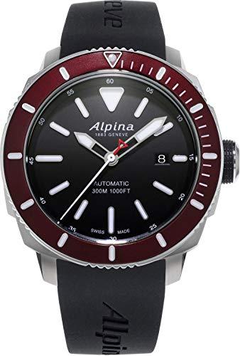 Alpina Seastrong Diver Black Dial Silicone Strap Men's Watch ()