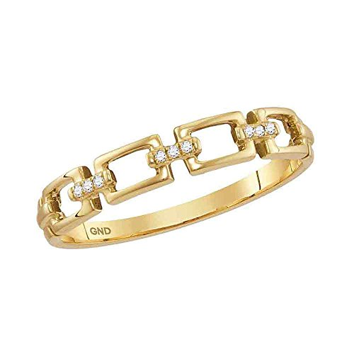 10K Yellow Gold Band Style Ring Chain Link Diamond Stackable Rings .03 CTW by IdealCutGems-JSS