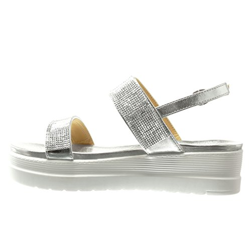 Angkorly - Zapatillas de Moda Sandalias Mules zapatillas de plataforma mujer strass tanga Talón Plataforma 5 CM - Plata