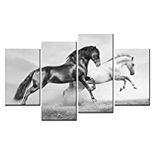SmartWallArt - Animal Paintings Wall Art a Black and a White Horses Raced on the Sand 4 Pieces Picture Print on Canvas for Modern Home Decoration