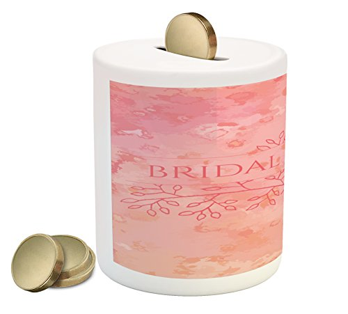 Ambesonne Bridal Shower Piggy Bank, Bride Invitation Grunge Abstract Backdrop Floral Design Print, Printed Ceramic Coin Bank Money Box for Cash Saving, Pale Pink and Salmon]()