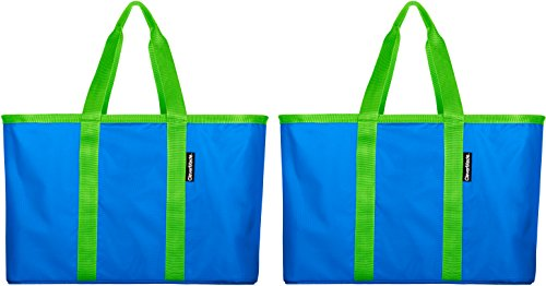 CleverMade SnapBasket Reusable Grocery Shopping Bag - Large Eco-Friendly Durable Collapsible Tote with Reinforced Bottom, Bright Blue/Lime, 2 Pack