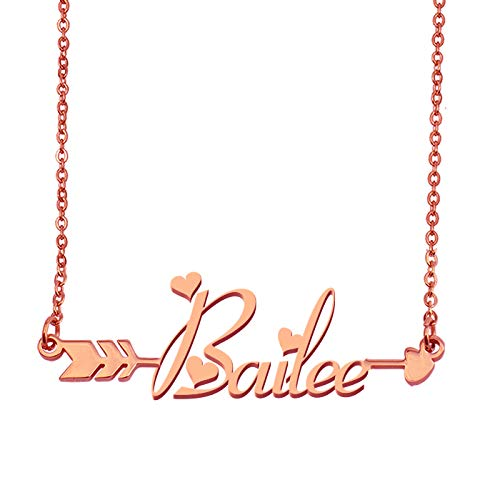 Aoloshow Customized Custom Name Necklace Personalized - Custom Bailee Initial Plated Handwriting Nameplate Necklace Gift for Womens Girls -