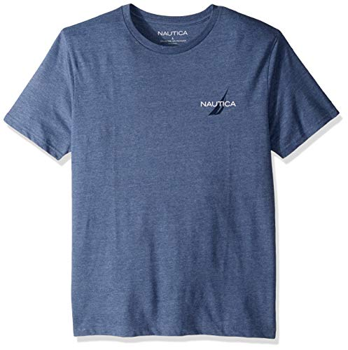 Nautica Men's Short Sleeve Logo Series Graphic Tee, Blue Indigo Heather, Small