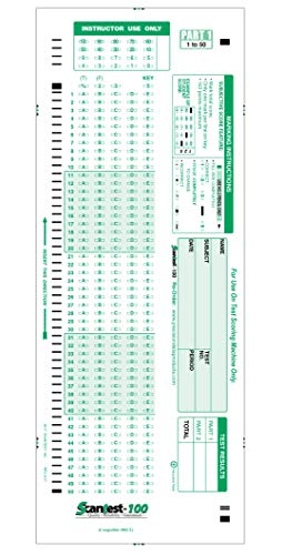 SCANTEST-100, 882 E Compatible Testing Forms (100 Sheet Pack)