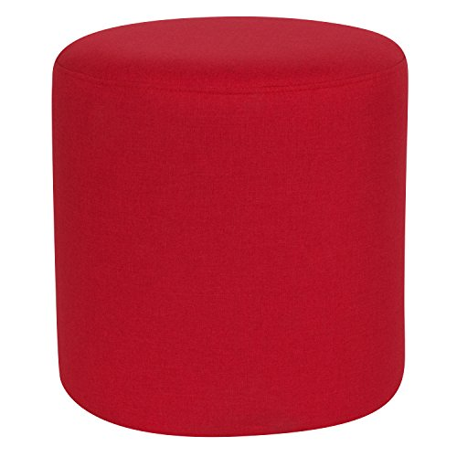Flash Furniture Barrington Upholstered Round Ottoman Pouf in Red Fabric