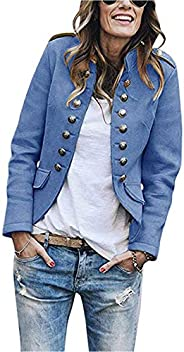 Romose Women Fall Winter Blazer Button Military Blazer Stand Collar Office Suit Coat Jacket