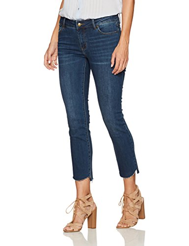 Denim Crush Women's Straight Cropped Jean Indigo Stone Wash 4