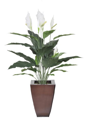Peace Lily Potted (Artificial 2.5-foot Peace Lily in Zinc Planter)