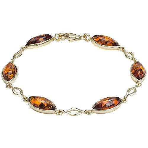 Miel Ambre Or jaune 14K Marquise Bracelet 17,5cm