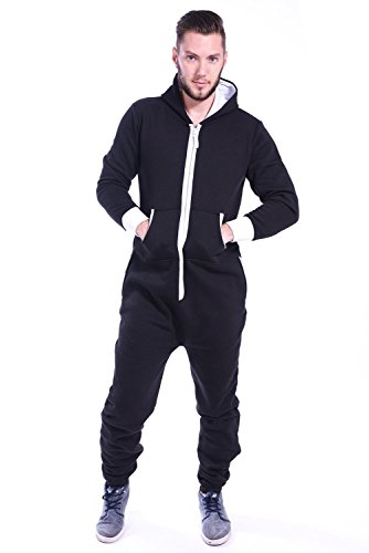 Zip Todo Colores negro Onesie Mono Lisos Un Mens En Newfacelook Hoodie Hoody 8dqwX8C