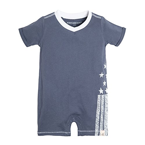 Burt's Bees Baby Baby Organic Short Sleeve Shortall, Prairie Blue Stars/Stripes, 18 Months
