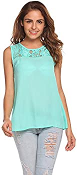 Venena Chiffon Lace Sleeveless Shirt Blouse Flowy Women's Tank Tops