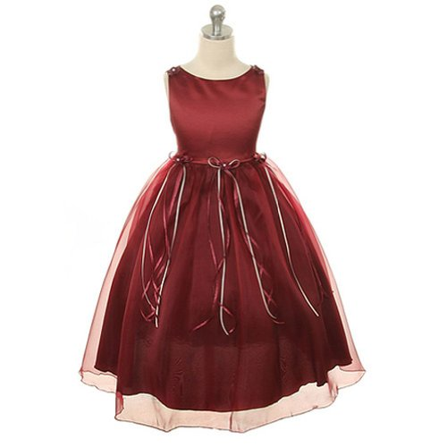 Girl Rose Flower Bud - Kids Dream Burgundy Rosebud Organza Flower Girl Dress Little Girl 6