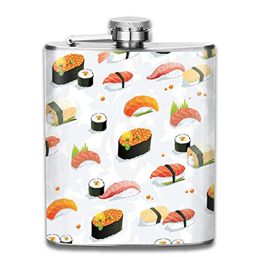 (Sushi Wallpaper Clipart Fashion Portable Stainless Steel Hip Flask Whiskey Bottle for Men and Women 7 Oz)