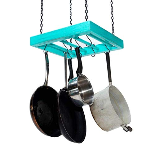 Hanging Pot Rack - Wooden - Ceiling Mounted - Square - Small - Hang Kitchen Pots and Pans
