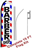 "NEOPlex - ""Barber Shop (Extra Wide)"" Complete Flag Kit - Includes 12' Swooper Feather Business Flag With 15-foot Anodized Aluminum Flagpole AND Ground Spike"