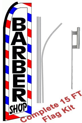 NEOPlex - Barber Shop (Extra Wide) Complete Flag Kit - Includes 12 Swooper Feather Business Flag With 15-foot Anodized Aluminum Flagpole AND Ground Spike
