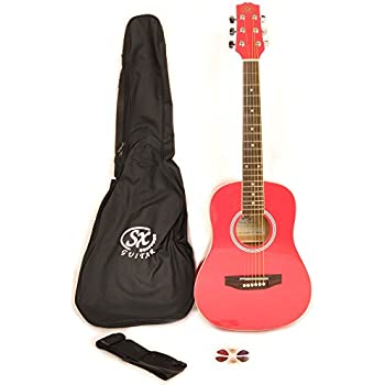 SX RSM 1 12 LRD LH 1/2 Size Left Handed Lollipop Red Acoustic Guitar Package with Carry Bag, Strap, and Guitar Picks Included