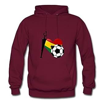 Comfortable Designed Burgundy Women I Heart Soccer From Ghana (ddp) Printed Sweatshirts X-large